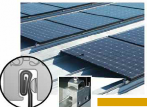 Metal roofing can make use of special seam-clamping hardware that grips the standing seam without puncturing the membrane. Seam clamps have made metal roofing a preferred roof type for mounting photovoltaic solar arrays. PHOTO: Metal Roof Advisory Group Ltd.
