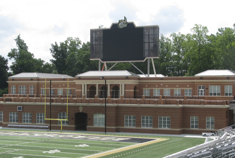 Judy W. Rose Football Center-Fieldhouse and the McColl-Richardson Field Press Box, University of North Carolina, Charlotte