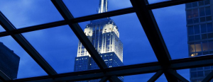 The retractable glass roof enhances the view of New York's city sunsets and allows guests to take in the skyline, including the Empire State Building.