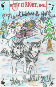 Roof It Right's owner James Guindon, who is also an artist, includes his dogs in marketing materials, including this Christmas card.
