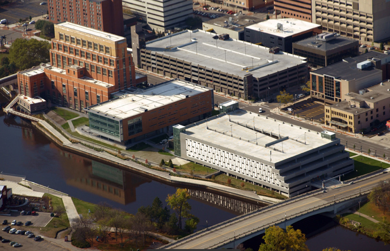 Accident Fund Holdings Headquarters features a white TPO roof. PHOTO: Image Michigan and The Christman Co.