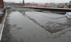 This blue roof in New York uses a check dam to retain storm water.