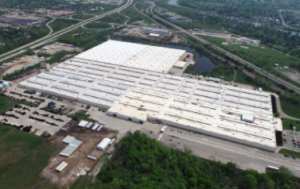 The existing PVC roof on the GM After Sales Warehouse, Lansing, Mich., was removed and recycled into new PVC roofing material, a portion of which was reinstalled on this project and helped it achieve RoofPoint certification.