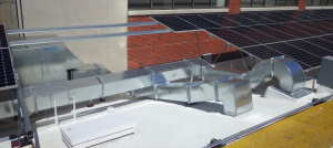 Silverback Solar's engineering department was able to utilize as much roof space as possible for solar panels by elevating them above HVAC equipment with the Silverback Solar racking system.