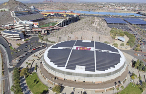 WELLS FARGO ARENA, TEMPE, ARIZ., features a RoofPoint-certified white, reflective membrane from Sika Sarnafil that will decrease heat flow through the roof system. More than 2,000 photovoltaic panels from Kyocera Solar Inc. will produce an estimated 800,000 kWh annually.