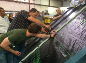 During the Spring Fling, a hands-on training session took place for the N.B. Handy roofing staff and the employees of N.B. Handy's subsidiary company Morris Ginsberg