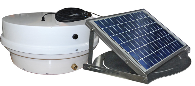 The Sentinel II XDR Solar Roof Pump features a removable solar panel that can be placed away from the pump.