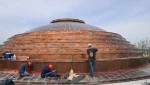 The domed roof required about 6 tons of 20-ounce Flat-Lock copper.