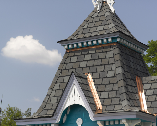 Asphalt roofing products provide a historic mansion with for Modern roof shingles