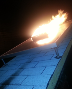 Fire resistance testing, such as Spread of Flames and Burning Brand tests, on solar PV roofing installations are tested in a lab and in the field.