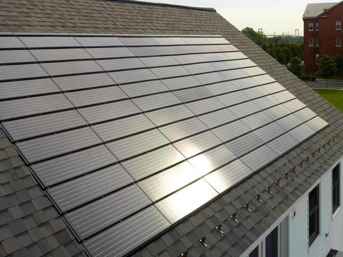 The lightweight, durable panels are resistant to wind uplift and can be integrated into an existing roof or with the installation of a new roof that combines solar panels and asphalt shingles or flat concrete tiles.