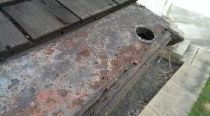 When tin or terne-coated steel gutter linings fail, water intrusion will occur and cause wood rot. Eventually, architectural details will be lost and replacement will be necessary.