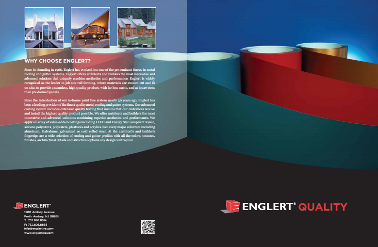 Englert's brochure outlines the 67 different steps Englert takes in testing and quality control to ensure customers of high-quality metal coating.