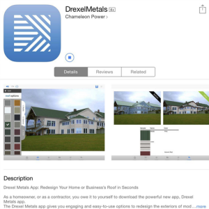 The Drexel Metals App provides those selecting a Drexel Metals roof the ability to see what their property will look like prior to making the investment in the company's metal roof system.