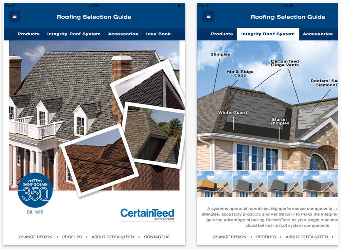 With the Free CertainTeed Roofing Guide app, homeowners can now easily drive inspiration for their home's exterior color palette.