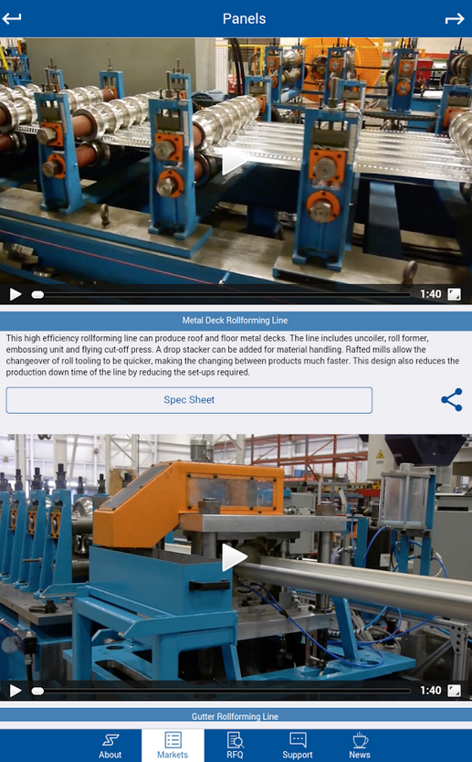 Samco Machinery developed a free smartphone application allowing access to company pictures, videos as well as detailed technical information.