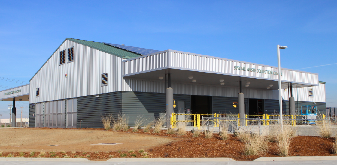 The Elk Grove Special Waste Collection Center celebrate the industrial chic nature of dealing with hazardous waste products with metal roofing and wall panels.