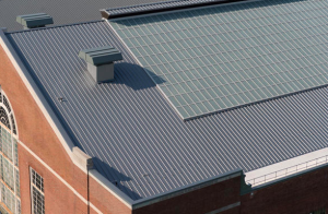 Approximately 25,981 square feet of Tite-Loc Plus, 16-inches on-center, 0.040 aluminum was installed on the building.