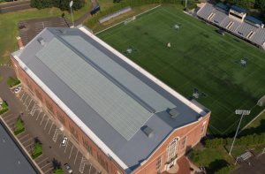 The building is said to have one of the largest skylights in the world at roughly 26,000 square feet.