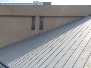 The roofing crew installed about 6,500 square feet of pre-weathered 0.8-millimeter zinc.