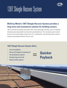 McElroy Metal's 138T Shingle Recover System brochure is now available for download.