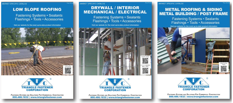 Triangle Fastener Corp. has released its Market Specific Product Catalogs for the metal roofing/building, low-slope roofing, and the interior/drywall construction industries.
