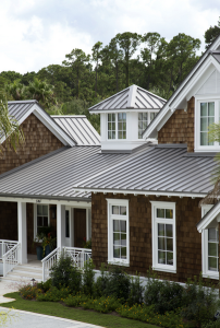 The roof of the Callaghan residence in Ponte Vedra Beach, Fla., features 12,000 square feet of Petersen Aluminum's Snap-Clad in Slate Gray.