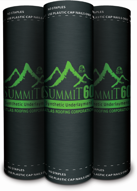 Atlas Roofing, a producer of felt underlayment, produces a lightweight, synthetic alternative to organic felt known as Summit 60.