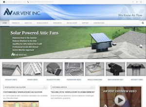 Air Vent Inc. redesigns website featuring a new look and improved functionality.