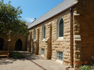The church leadership selected a polymer roof material in an Aberdeen blend of five colors to complement the stone exterior on the historic church.
