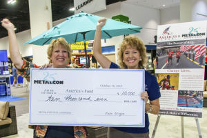 Diane Layman (left), voluntary services specialist for the Tampa Polytrauma Rehabilitation Center, and Debra Jordan, East Coast case manager for America's Fund, are ecstatic to receive a $10,000 check from METALCON Show Director Claire Kilcoyne. Funds were raised at the 2015 METALCON through contributions from exhibitors, attendees, show management, show vendors and staff.