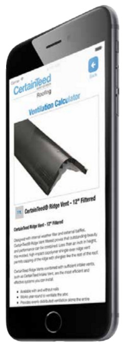 CertainTeed has made available its Roofing Ventilation Calculator mobile application.