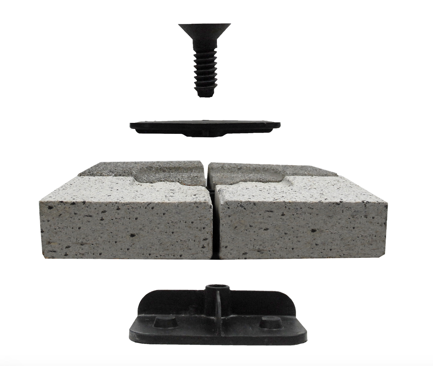 Tectura Designs' Lok Down system is a proprietary pedestal system for rooftop pavers.