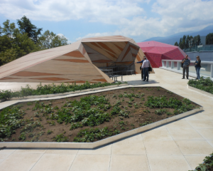 Muzeiko, a 35,000-square-foot LEED Gold children's science discovery center in Sofia, Bulgaria, includes a rooftop science play area with a lush green roof, climbing wall, rain garden, outdoor activity space and an amphitheater. PHOTO: ROLAND HALBE, COURTESY LEE H. SKOLNICK ARCHITECTURE + DESIGN PARTNERSHIP