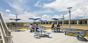 A roof hangout is considered a major perk for employees at Higher One, New Haven, Conn. The prime real estate provides a change of scenery for someone who wishes to bring his or her laptop outside. PHOTO: COURTESY SVIGALS+PARTNER
