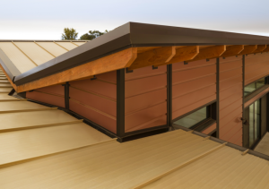 The roof of the Eser residence features unconventional angles, including a large section over the great room with an inverted butterfly design that required an internal gutter system.
