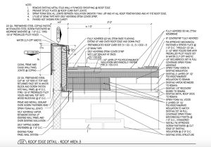 On a recent project in which the roof sustained a wind event, investigation for the design of the new roof edge and system found multiple concerns: open metal stud cavities to the parapet, open metal panel joints, wood and substrate boards attached with drywall wall screws and moisture drive concerns. This information led to the design of one of the author's most complicated roof edges.