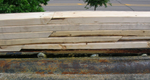 When stacking, wood joints should be offset and scarfed at 45 degrees.