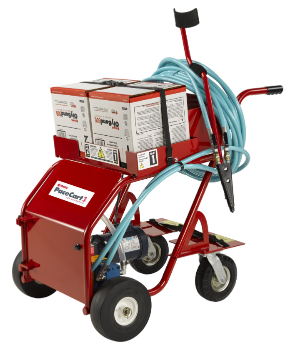 OMG Roofing Products has introduced the PaceCart 3, a robust application system for applying OlyBond500 Adhesives packaged with patented Bag-in-Box technology.