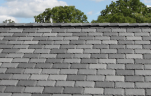 The Inspire Aledora Slate composite roofing fits in nicely with all the other historic details of the building.
