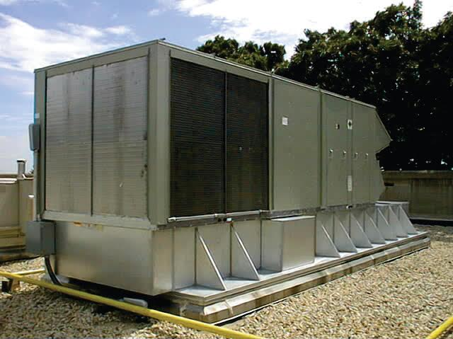 A Thybar Retro-Mate is custom made to adapt the existing roof curb to a new rooftop unit.