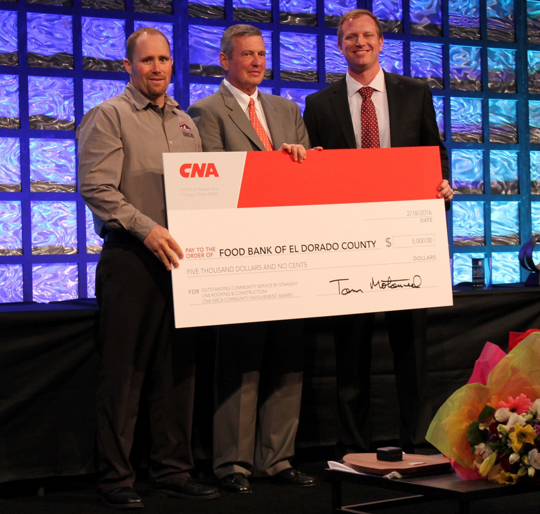 In recognition of its efforts to help disadvantaged members of its community meet basic nutritional needs, Straight Line Roofing & Construction has been presented the fourth annual CNA/NRCA Community Involvement Award.