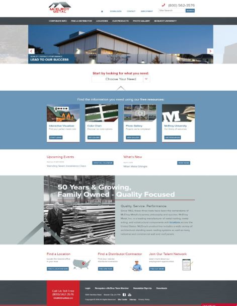 McElroy Metal has dedicated sections of the new site to the specific markets it serves.