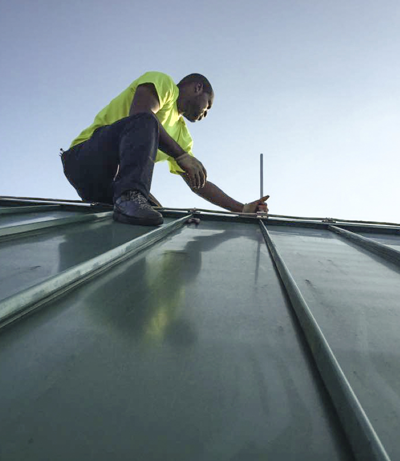 Lightning protection installers are highly trained craftsmen. Like roofers, they work exposed to the weather and often at dangerous heights.
