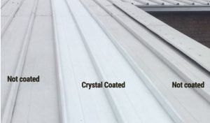 Crystal roof coating applied to a section of the school roof remained clean.