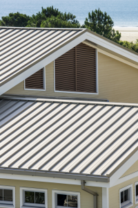 The standing-seam roof is made up of 0.040-inch coated aluminum panels that are 18-inches wide.