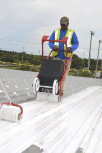 At the SportsWorld program center, crews recoated the existing 450,000-square-foot metal roof with the Silicone Roof Coating System