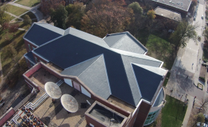 Dover Black slate was installed with stainless-steel nails on the building.