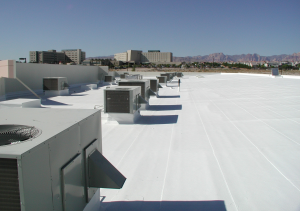 A reflective coating has been applied to a hybrid asphaltic roof. PHOTO: GAF