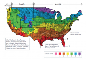 FIGURE 1: Reflective roof requirements in ASHRAE 90.1 and IECC only apply in Climate Zones 1 through 3, shown here on the ASHRAE Climate Zone Map. SOURCE: U.S. Department of Energy